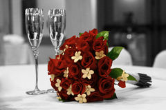 Monochrome Rode Bridal Boquet Stock Images