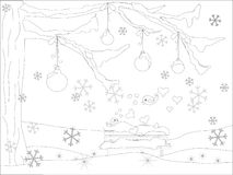 Monochrome romantic background with Christmas tree, falling snowflakes, lovebirds, balls, bench in snow. For coloring book antistress page, for print stock Royalty Free Stock Photos