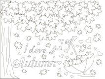 Monochrome romantic background with maple tree, falling maple leaves, umbrella, love birds, lettering. I love autumn coloring book anti stress stock vector Stock Illustration