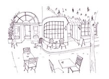 Monochrome rough sketch of european outdoor or sidewalk cafe, restaurant or coffeehouse with tables and chairs standing. On city street. Vector illustration Stock Images
