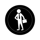 Monochrome round frame with pictogram business man. Vector illustration Stock Images