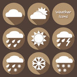 Monochrome round icons set of weather forecast Royalty Free Stock Image