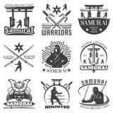 Monochrome Samurai Emblems Set Royalty Free Stock Photography