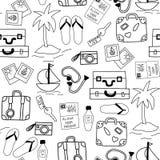 Monochrome sans couture de fond de vecteur d'icônes de vacances d'été illustration stock