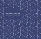 Monochrome sashiko motif with copy space for text. Royalty Free Stock Photos