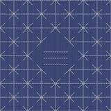 Monochrome sashiko motif with copy space for text. Royalty Free Stock Photo