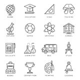Monochrome School Icon Set Royalty Free Stock Images