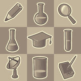 Monochrome science icons Royalty Free Stock Image