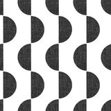 Monochrome screen print style seamless geometric vector pattern semicircles vertical with grunge texture. Abstract Art stock illustration