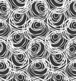 Monochrome scribbles big circles overlapping on black. Scribbled in rough ink monochrome geometrical pattern.Hand drawn with ink seamless background.Modern Stock Photo