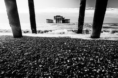Monochrome sea pillars Stock Image