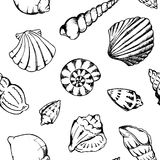 Monochrome sea shells vector seamless pattern texture background Royalty Free Stock Photo