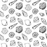 Monochrome sea shells vector seamless pattern texture background Stock Photo