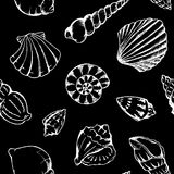 Monochrome sea shells vector seamless pattern texture background Royalty Free Stock Photos
