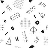 Monochrome seamless abstract geomertic pattern - modern material design background. In retro memphis style. Template for wrapping paper, fabric, cover of books vector illustration