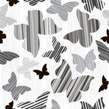 Monochrome seamless  background with butterflies. Stock Photography