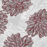 Monochrome seamless background with flowers. Vector illustration Royalty Free Stock Photo