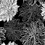 Monochrome seamless background with flowers. Vector illustration Royalty Free Stock Photos