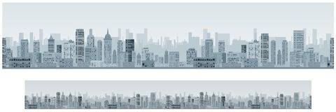 Monochrome Seamless Cityscape Banner Background Stock Photography