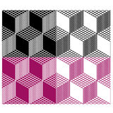 Monochrome seamless 3d cube pattern Stock Photo