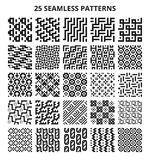 Monochrome seamless geometric patterns. Abstract fractal geometrical line vector repetitive borders. Seamless pattern monochrome background collection Stock Image