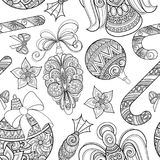 Monochrome Seamless Merry Christmas Pattern, New Year Illustration stock illustration