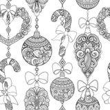 Monochrome Seamless Merry Christmas Pattern, New Year Illustration Stock Photo