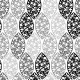 Monochrome seamless pattern of abstract blooming branches. Royalty Free Stock Images