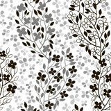 Monochrome seamless pattern of abstract blooming branches. Stock Images