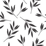 Monochrome seamless pattern of abstract branches. Stock Images