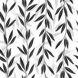 Monochrome seamless pattern of abstract branches. Stock Photo