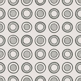 Monochrome seamless pattern. Abstract monochrome seamless pattern composed of hand-drawn striped circles. Vector graphics Royalty Free Stock Photo