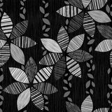 Monochrome seamless pattern of abstract flowers on a black backg Stock Photos