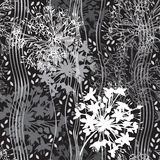 Monochrome seamless pattern of abstract flowers on black backgro Royalty Free Stock Photo