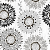 Monochrome seamless pattern of abstract flowers. Stock Photos