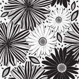 Monochrome  seamless pattern of abstract flowers. Floral  Royalty Free Stock Image