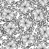 Monochrome seamless pattern of abstract flowers. Hand-drawn flor Stock Photo