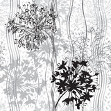 Monochrome seamless pattern of abstract flowers. Hand-drawn flor Stock Images