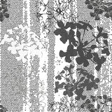 Monochrome seamless pattern of abstract flowers. Hand-drawn flor. Endless floral pattern. Black and white  illustration Stock Photo