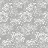 Monochrome seamless pattern of abstract flowers. Hand-drawn flor Royalty Free Stock Image