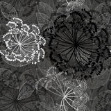 Monochrome seamless pattern of abstract flowers. Hand-drawn flor. Monochrome floral pattern with abstract flowers Stock Image