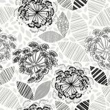 Monochrome seamless pattern of abstract flowers. Hand-drawn flor Stock Image