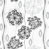 Monochrome seamless pattern of abstract flowers. Hand-drawn flor Royalty Free Stock Photo
