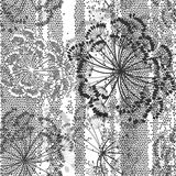Monochrome seamless pattern of abstract flowers. Hand-drawn flor Royalty Free Stock Photography