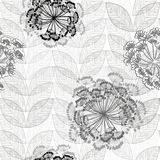 Monochrome seamless pattern of abstract flowers. Hand-drawn flor Royalty Free Stock Photos