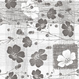 Monochrome seamless pattern of abstract flowers. Hand-drawn flor Stock Photos
