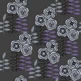 Monochrome seamless pattern with abstract flowers for paper, textile printing and web projects. Dark background royalty free illustration