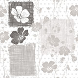 Monochrome seamless pattern of abstract flowers. Royalty Free Stock Images