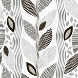 Monochrome seamless pattern of abstract leaves. Stock Images