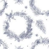Monochrome seamless pattern with beautiful Christmas wreaths on white background. Backdrop with traditional holiday. Decorations. Hand drawn vector illustration Stock Image